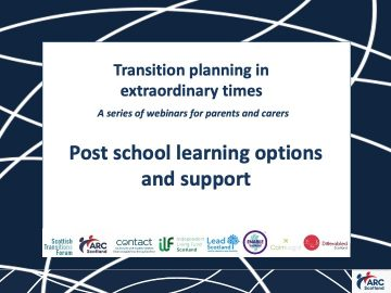Click to hear the recording of Post School Learning Options and Support